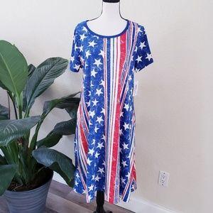 Lularoe Jessie Pocket Dress Stars Striped Blue
